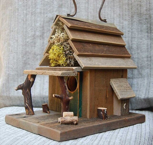 Rustic Birdhouse with Porch
