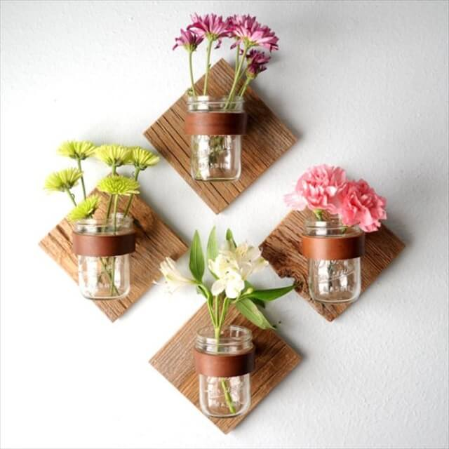 Wall Mounted Mason Jar Vases