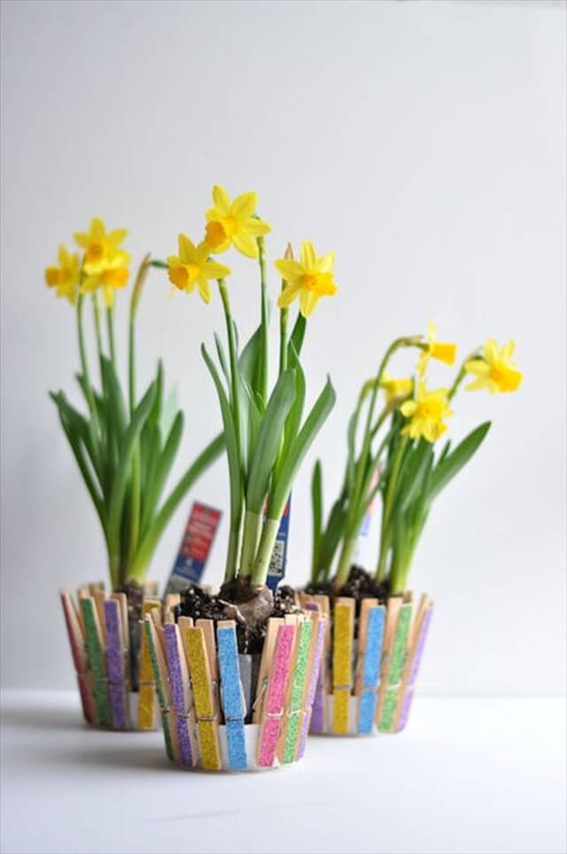 spring clothespins flowers