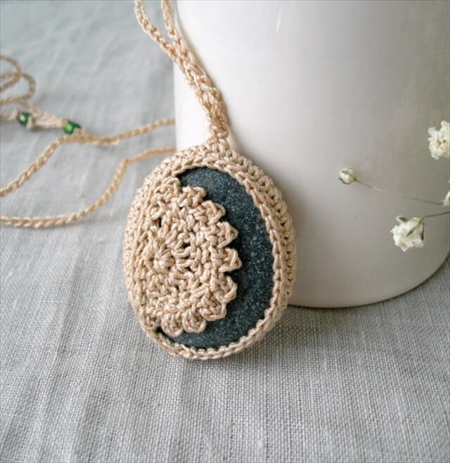 Crochet Stone Necklace - Crochet Jewelry - Lace Stone Necklace - Beach Stone Lacy Pendant -