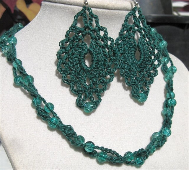 Forest Green 2-Strand Crochet Jewelry Set