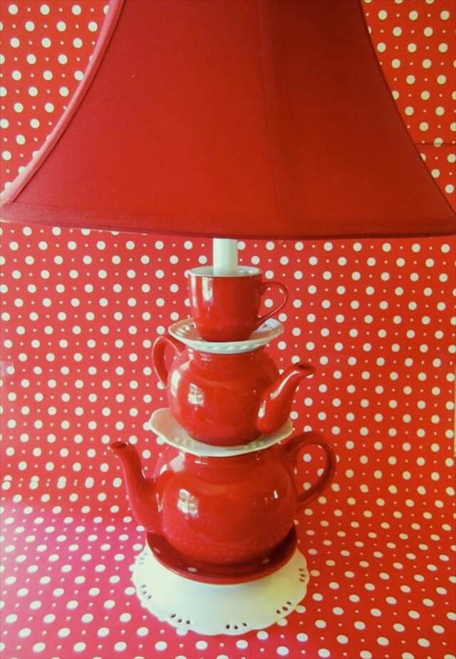 Red Teapot Lamp - Stacked Teapots with Tea Cup and Saucers