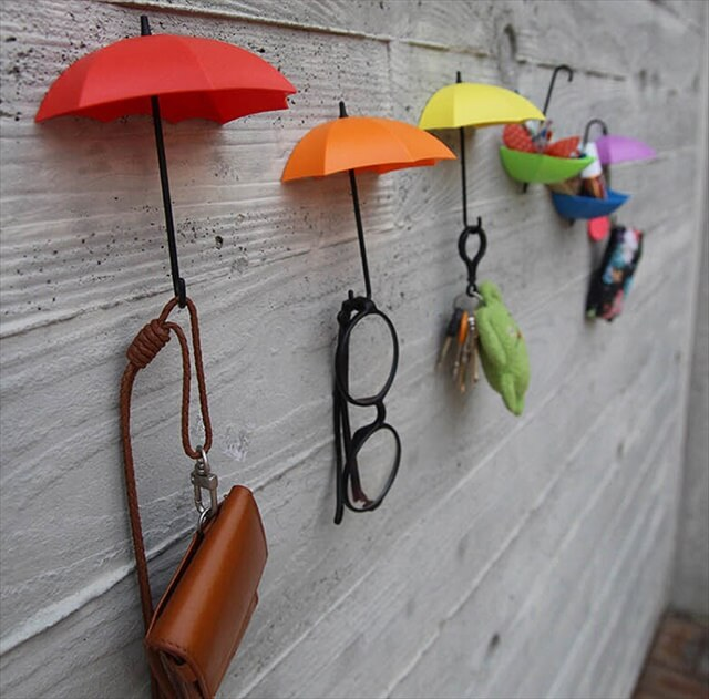 DIY home decor decoration umbrella wall hook wall stickers for children kids rooms sunglasses Bag Organizer ...