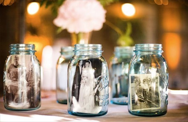 Displaying Vintage Photos in Glass Bottles and Jars