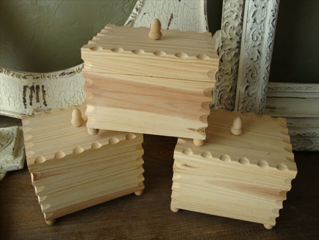Unfinished wood box with lid wooden boxes with feet DIY wood gift box wood craft supplies