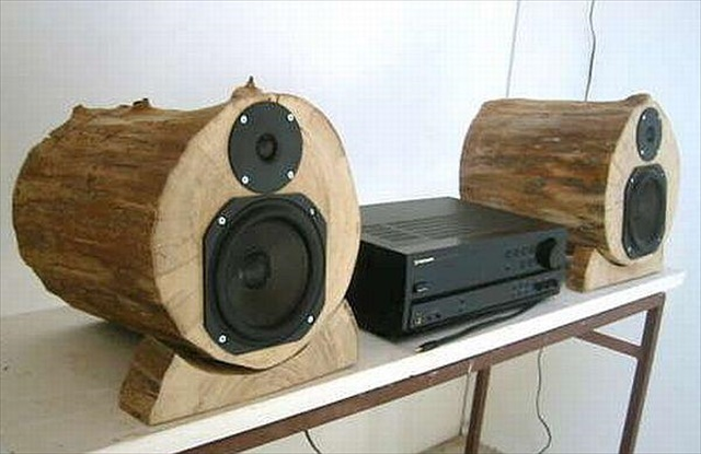 DIY Wood Log Speakers
