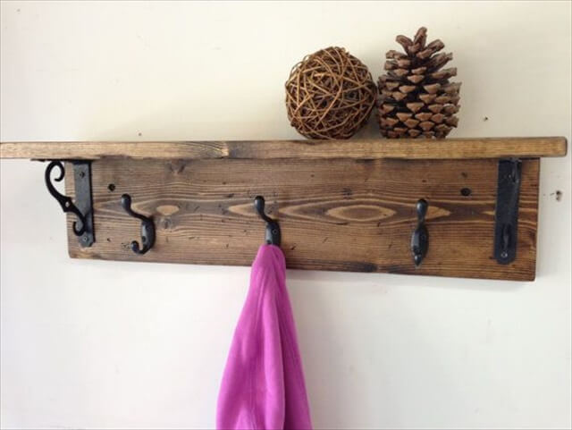Rustic wood wall coat hook rack with shelf and 3 hooks