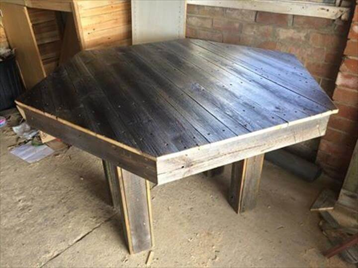 Handmade pallet hexagon dining table