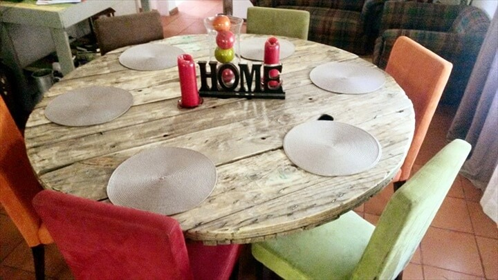 Recycled pallet round dining table