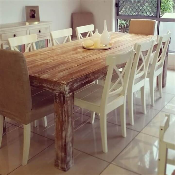 upcycled pallet wooden dining table