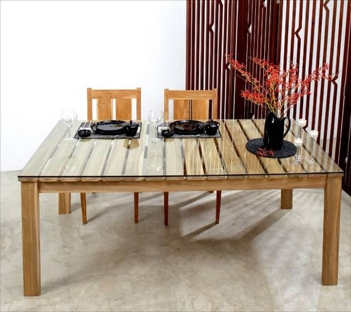 58 diy pallet dining tables diy to make for How to make a pallet kitchen table