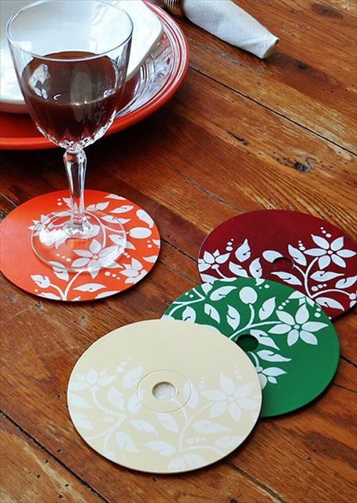 Stenciled DVD Coasters