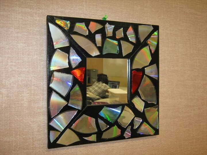 mirror frame made with CD mosaic