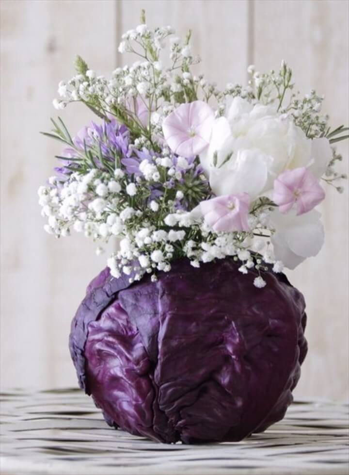 DIY Purple Cabbage Flower Arrangement