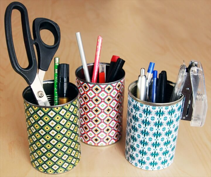 Caddy Recycled Tin Can,DIY Craft Room Ideas and Craft Room Organization Projects - Colorful Tin Can Organizer