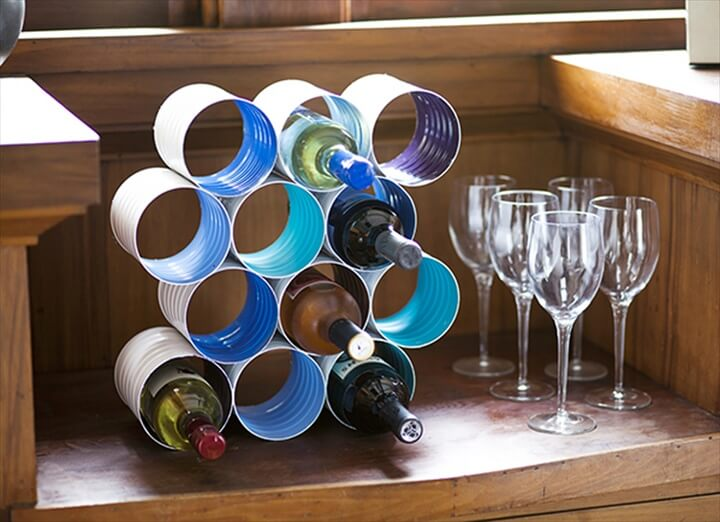 wine rack from tin cans