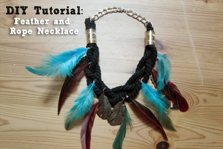 Feather and rope necklace