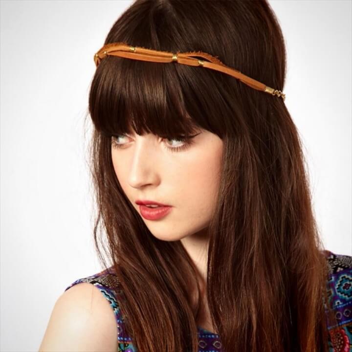 Metal and Leather Tube Headband