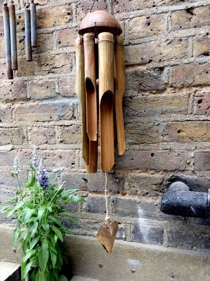 Large Unique Beautiful Hand Carved Bamboo Wind chime With A Metal Bell Heart