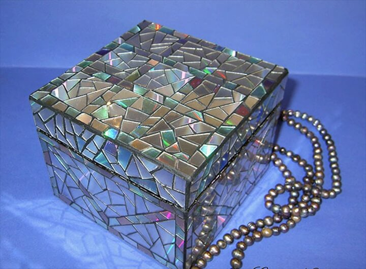 Jewelry Box Decorated With Old CDs