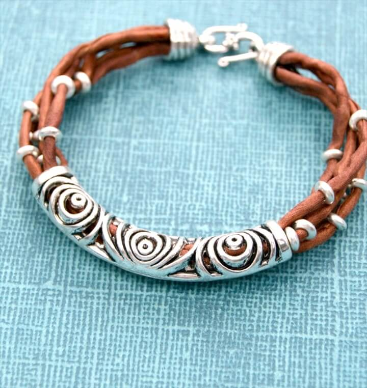 Silk & Silver Layered Tube Bead DIY Bracelet