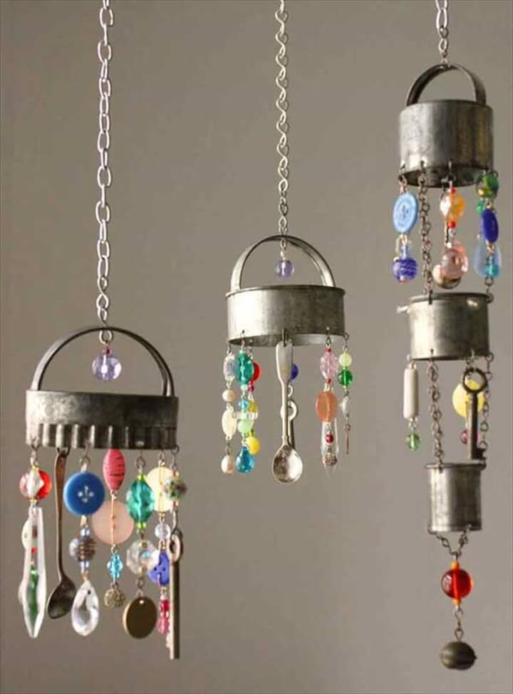 40 homemade diy wind chime ideas diy to make for Easy to make wind chimes