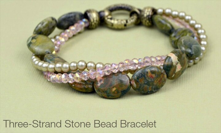 Supplies needed to make your own three-strand DIY bead bracelet: