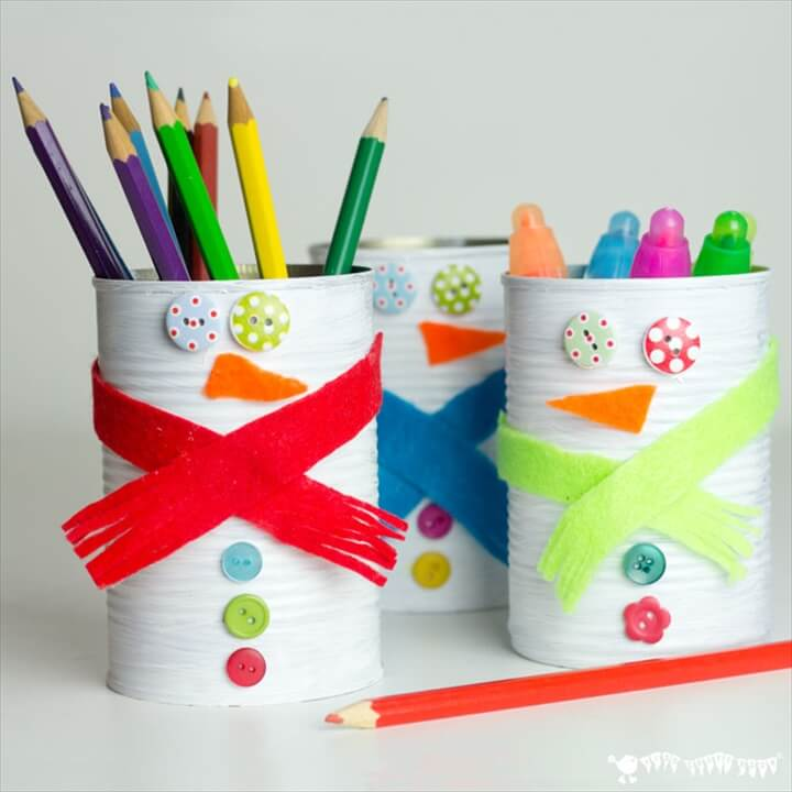 Kids will love turning old tin cans into Snowman Desk Tidies and a Snowman Bowling Game