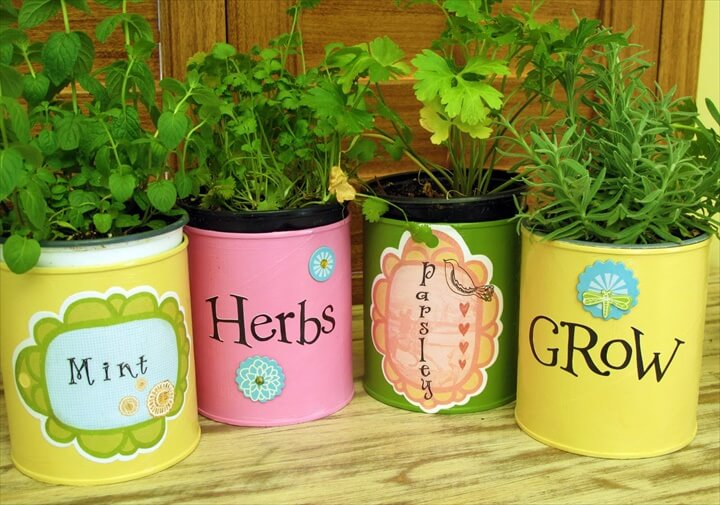 Tin can herb container gardens make easy, economical gifts