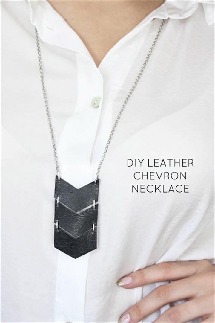 DIY geometric leather triple chevron necklace