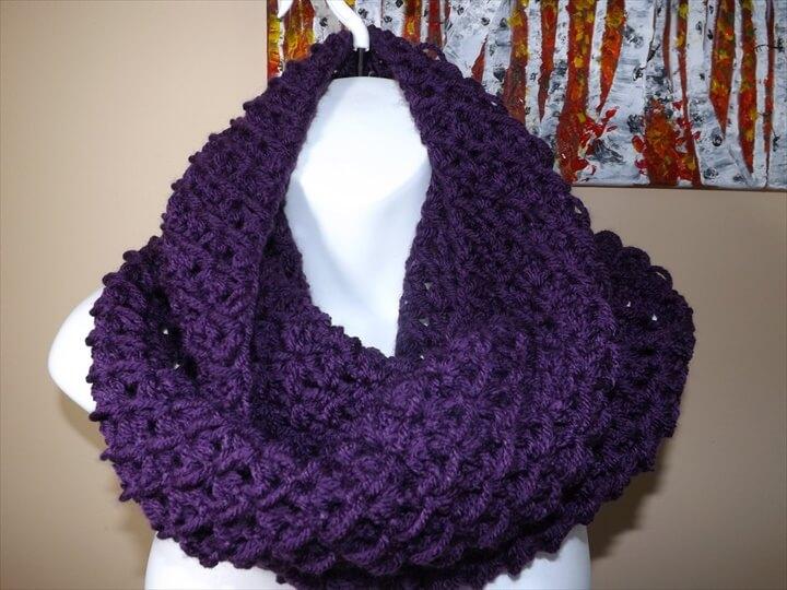 Purple Crochet Infinity Scarf:
