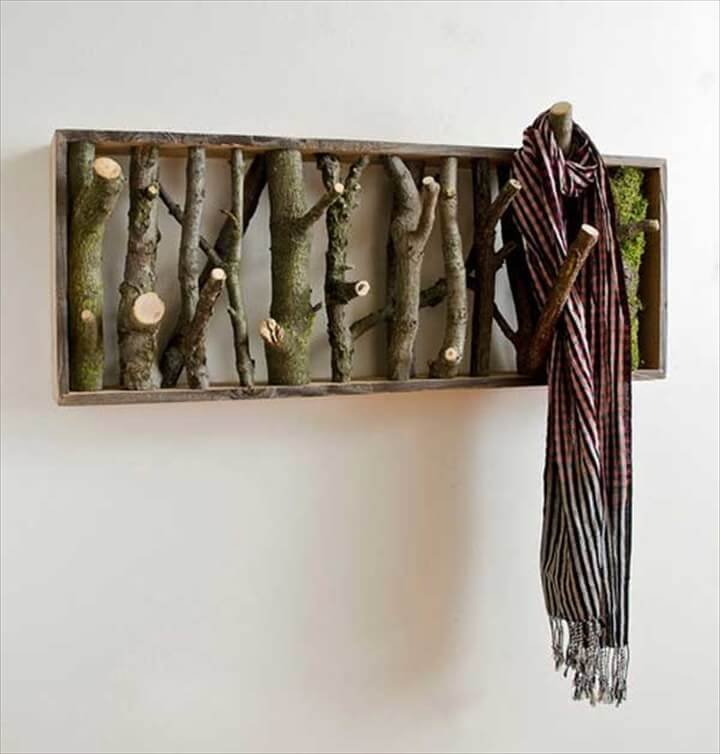 coat hook made from log wood