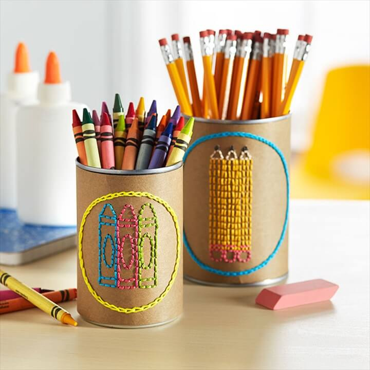 Organize kids craft supplies in easy-to-maintain labeled cans