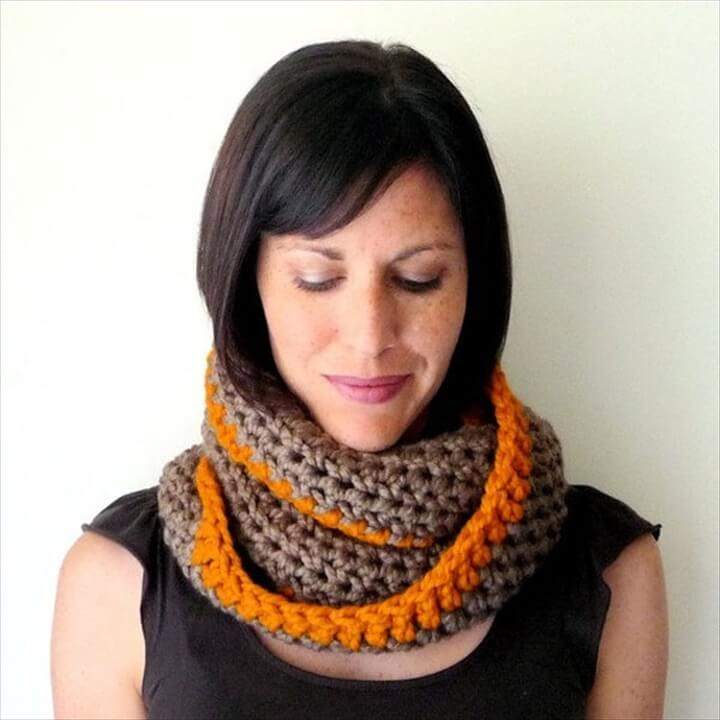 Crochet Infinity Scarf Pattern by LaineDesign. The skill level required for this crochet infinity scarf pattern is beginner. With this infinity scarf