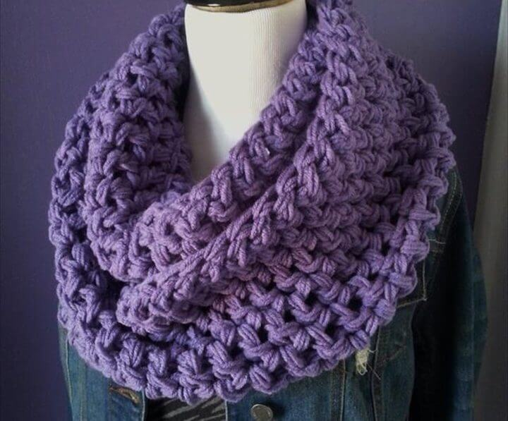 Purple Crochet Infinity Scarf: