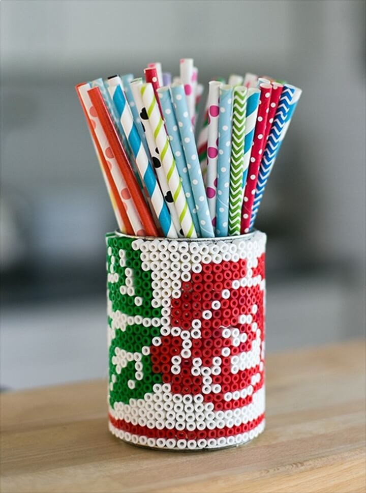 DIY Beaded Tin Can Pencil Holder