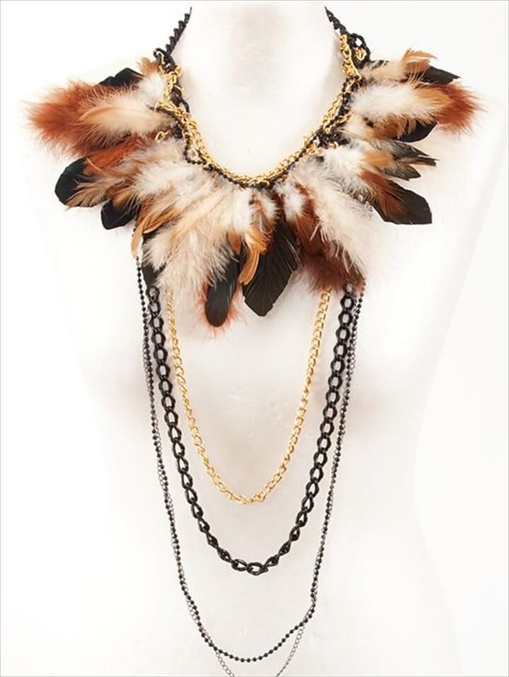feather and chain recreation necklace