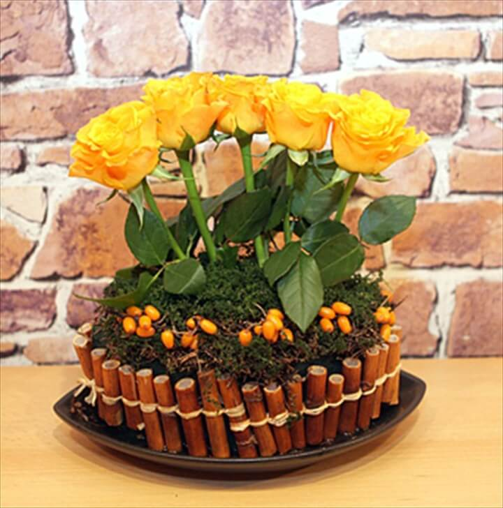 Rustic Woodland Arrangement With Bombastic Roses