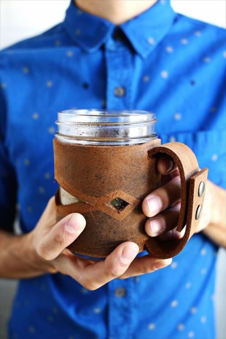 DIY Leather Mason Jar Sleeve