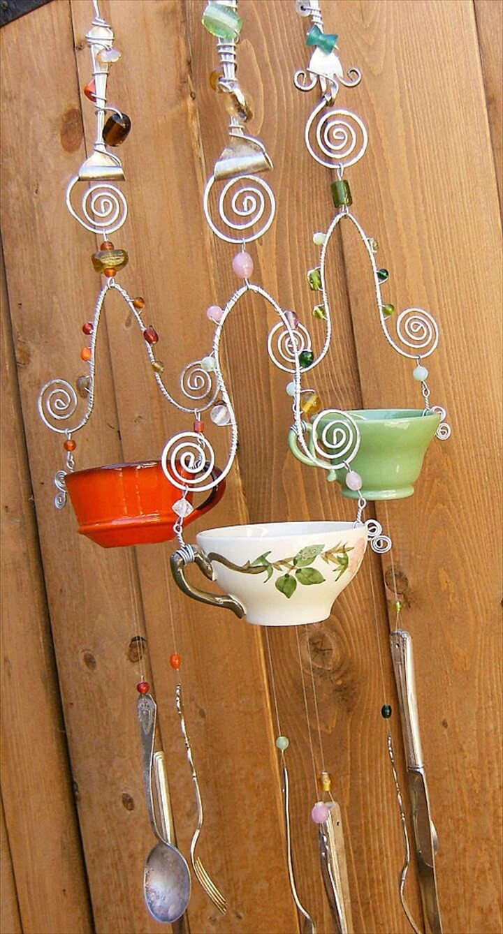 tea cup wind chime