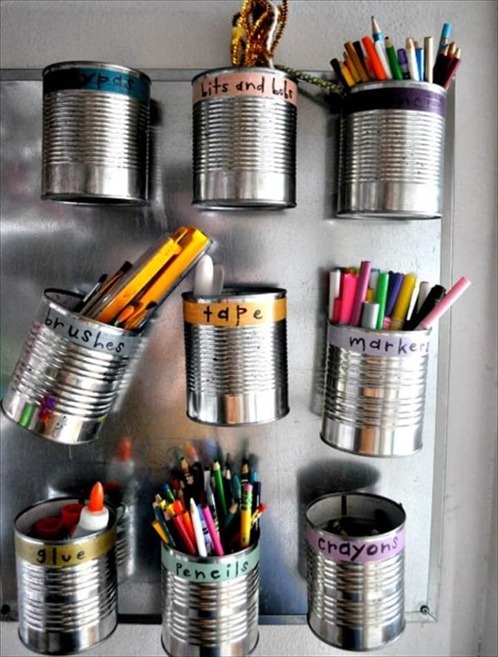 Floating Tin Cans Stationery Organizer: