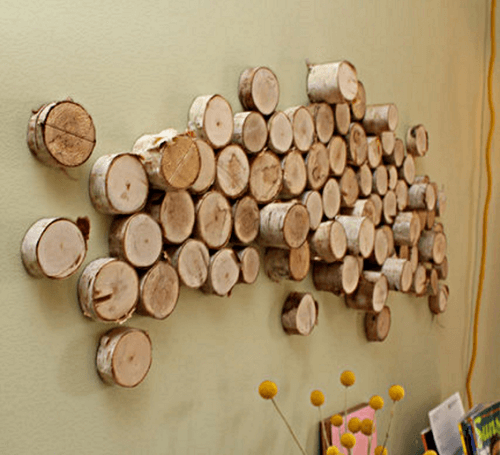 DIY rustic wood logs wall art