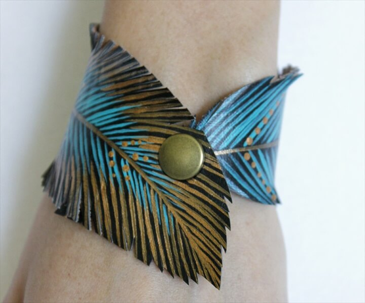Turquoise Feather Bracelet, Faux Leather Bracelet