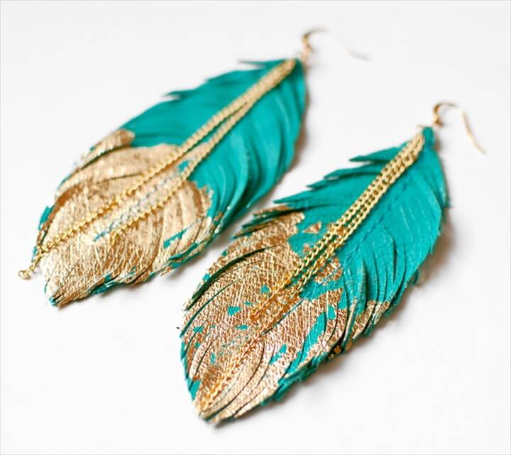 Zink feather earrings