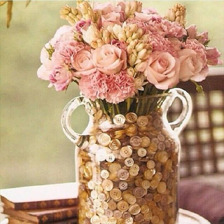 Beautiful flower arrangement with buttons