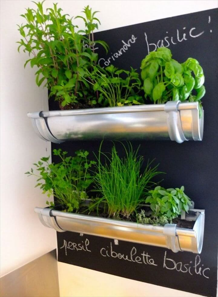gutters repurposed for herbs in the kitchen, Cool DIY Indoor Herb Garden Ideas