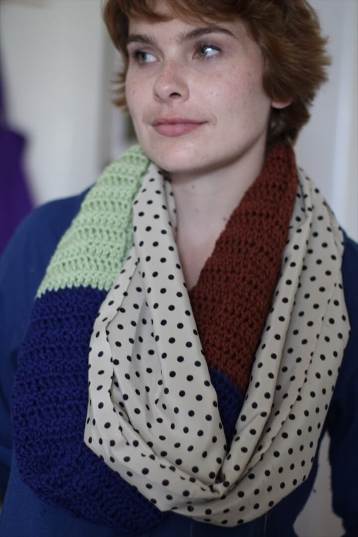 Half Fabric, Half Crochet Infinity Scarf Pattern and Tutorial