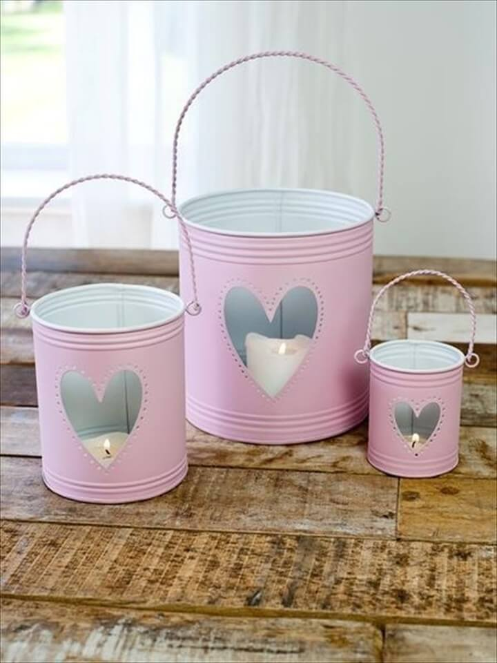heart candle tin lanterns,Pink Vintage Decoration