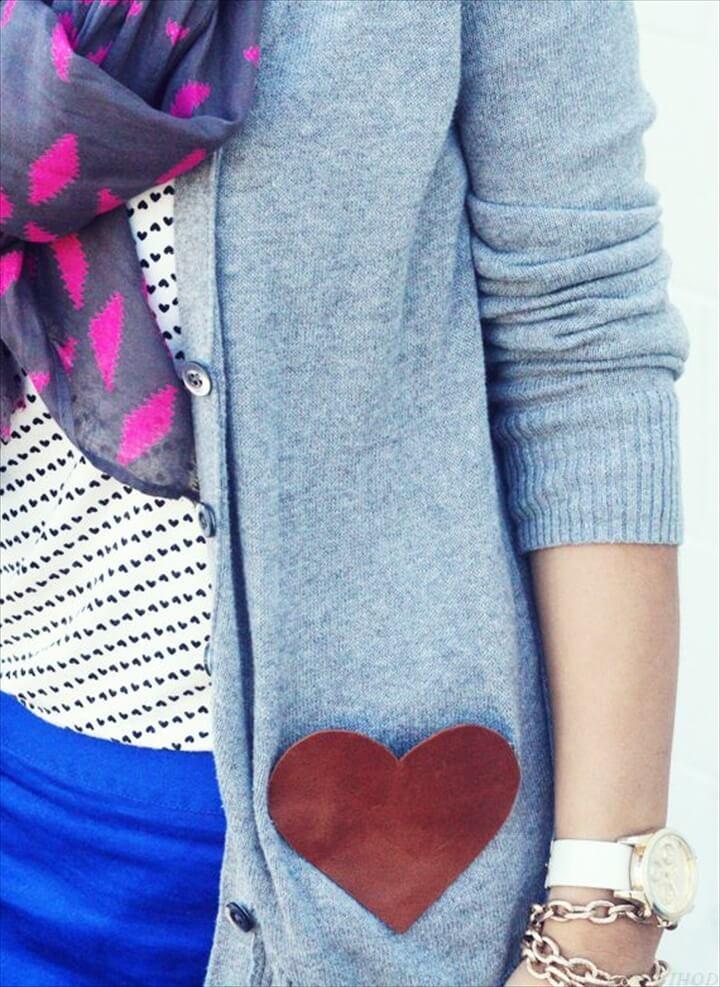 diy leather heart pocket