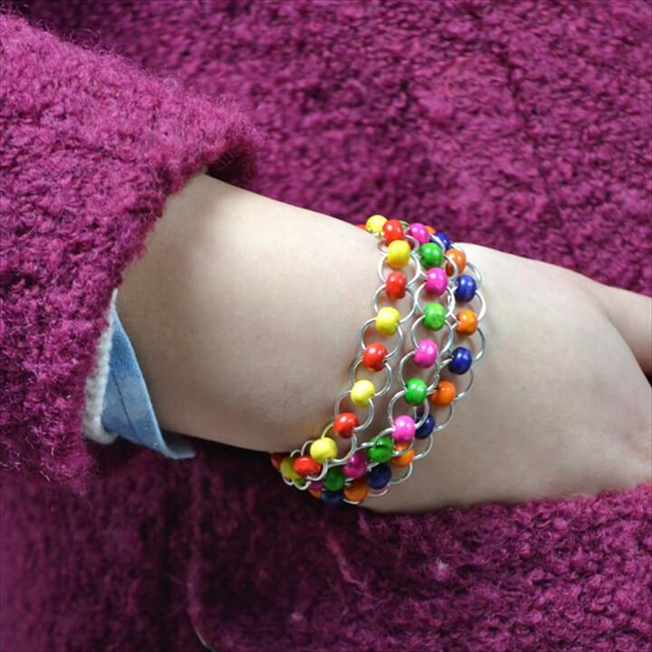 DIY Chainmail Jewelry on How to Make a Jump Ring Bracelet with Colorful Wood Beads
